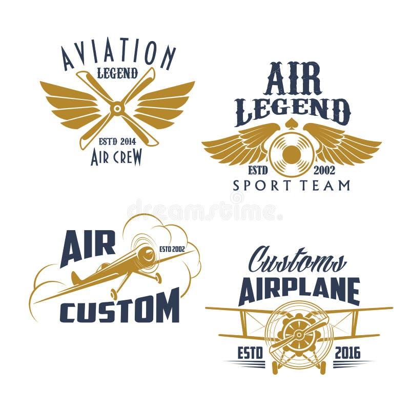 Rétros icônes de vecteur d'équipe de sport d'avion d'aviation illustration libre de droits