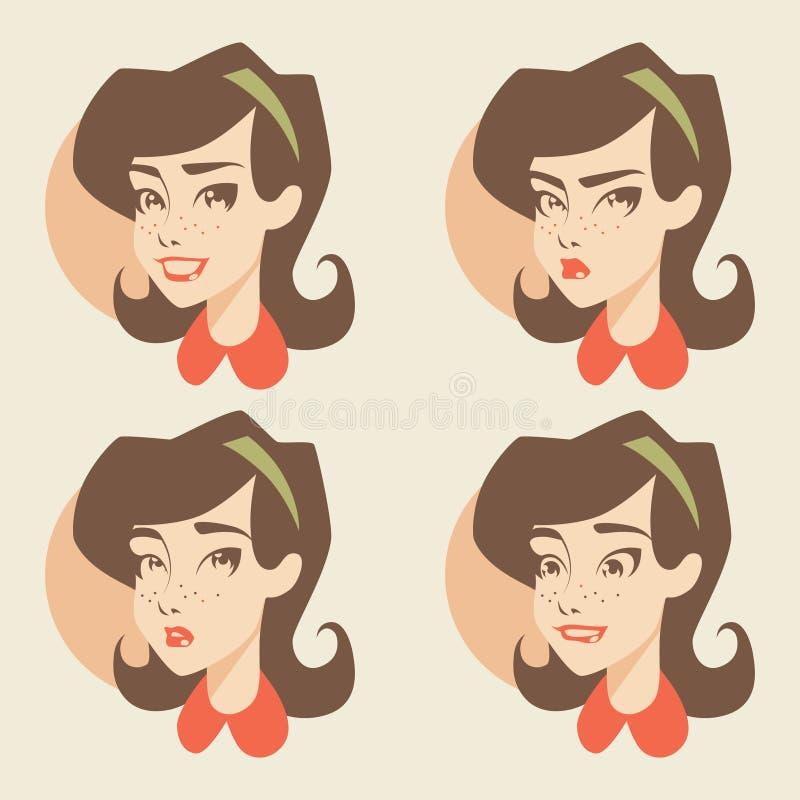 Rétros icônes de fille/émotions illustration libre de droits