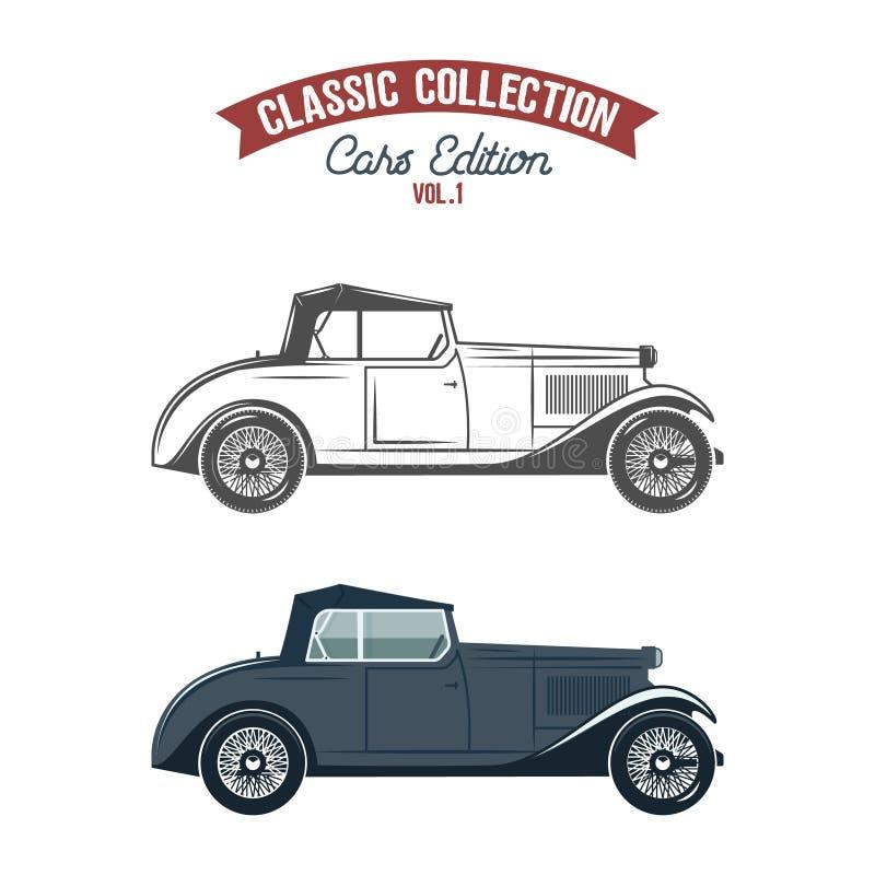 Rétros icônes de voiture, symboles dans la couleur plate et style de monochrome Conception classique de transport Utilisation dan illustration stock