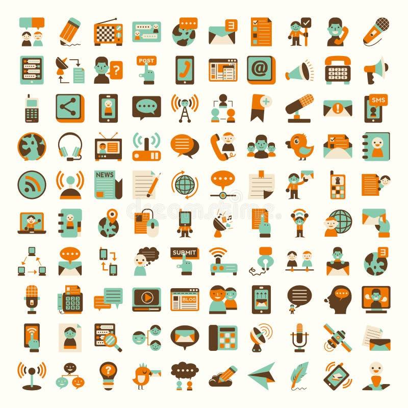 Rétros icônes plates de communication réglées illustration libre de droits