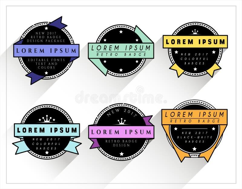 Rétros insignes colorés et de BW illustration libre de droits