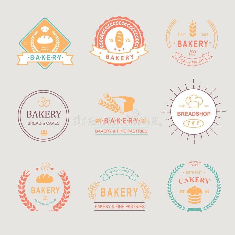 Rétros insignes de boulangerie de vintage, labels, logos Pain illustration de vecteur
