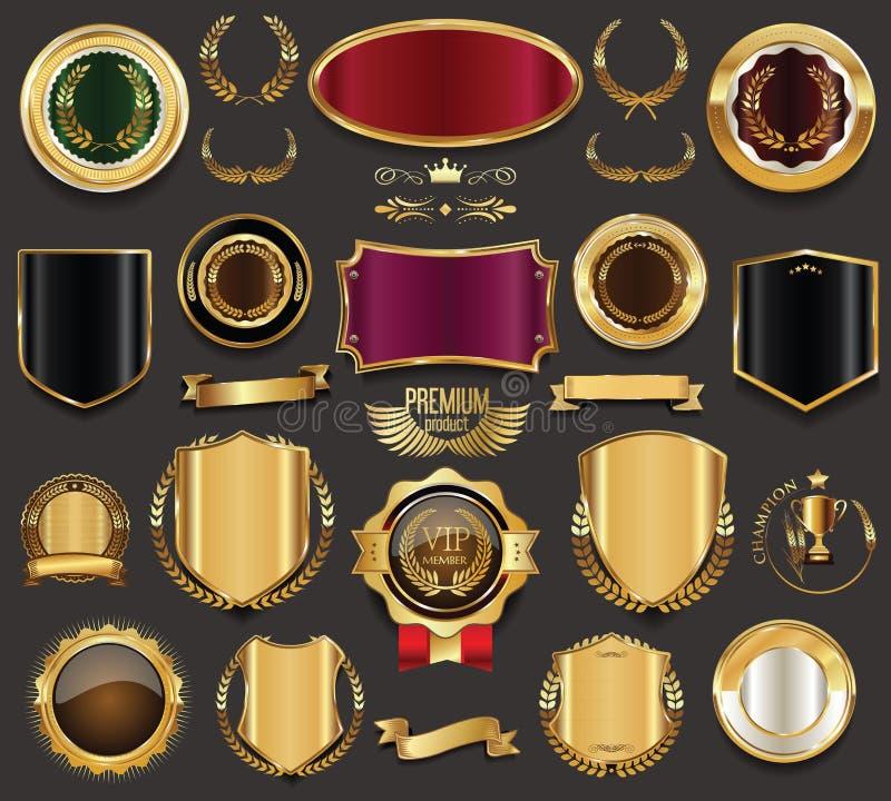 Rétros insignes de luxe or et illustration de collection d'argent illustration stock