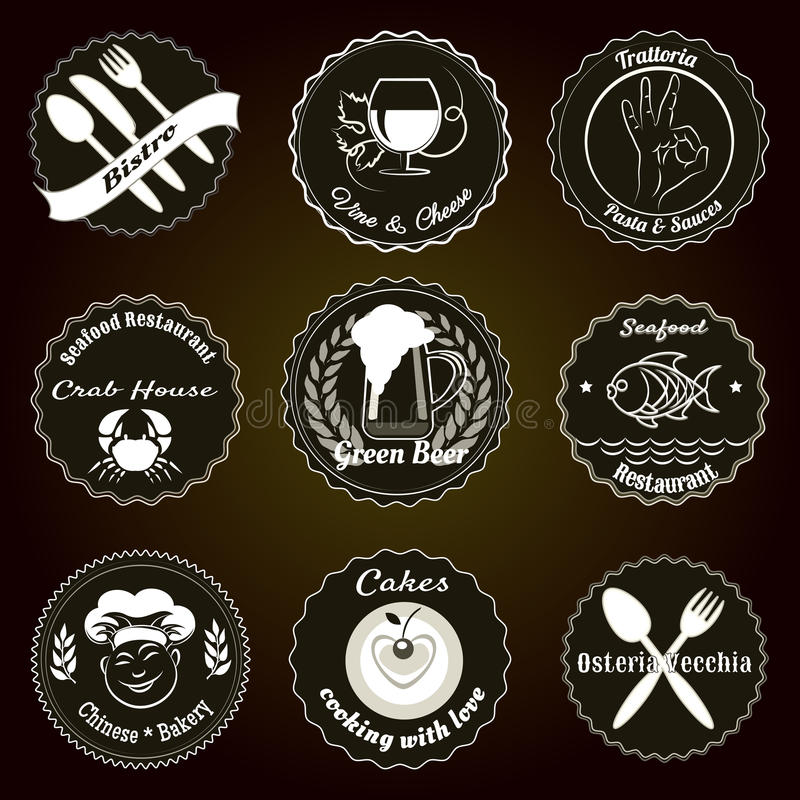 Rétros insignes de menu de restaurant illustration de vecteur