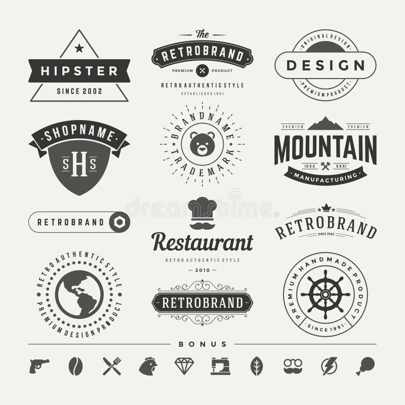 Rétros insignes de vintage ou vecteur réglé par Logotypes illustration stock