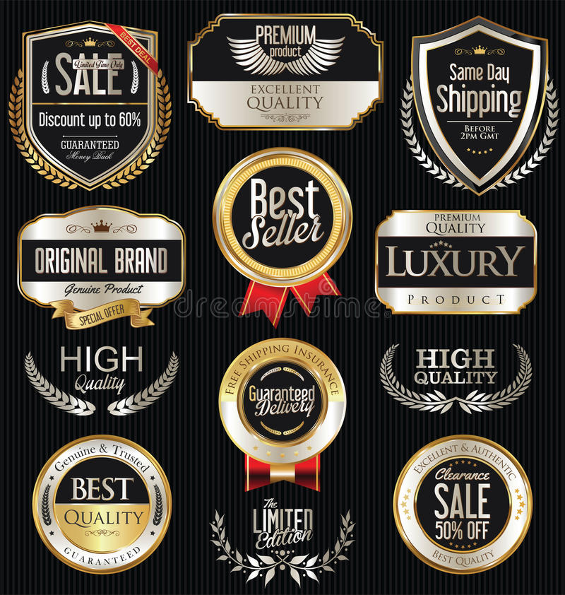 Rétros insignes et collection argentés de la meilleure qualité et de luxe de labels illustration de vecteur