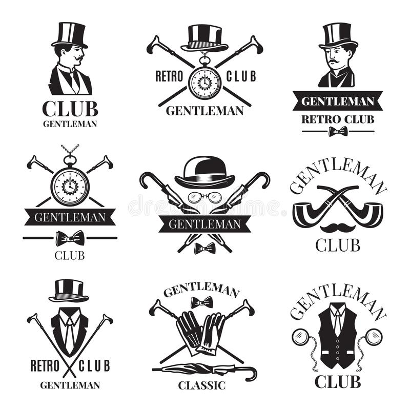Rétros insignes ou ensemble de labels pour le club de monsieur Les logos conçoivent le calibre avec l'endroit pour votre texte illustration de vecteur