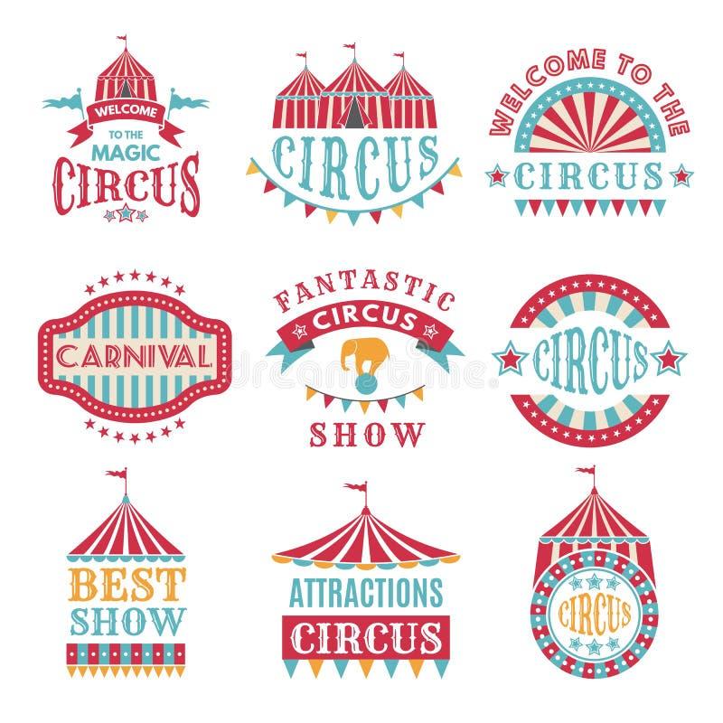 Rétros insignes ou logotypes de carnaval et de cirque illustration stock