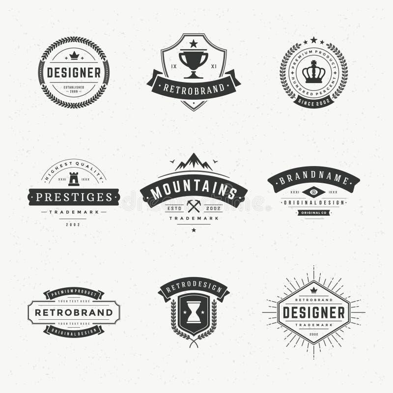 Rétros insignes ou Logotypes de vintage réglés illustration libre de droits
