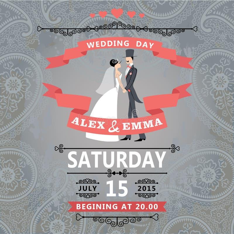 Rétros jeunes mariés de couples Invitation de mariage avec Paisley illustration stock