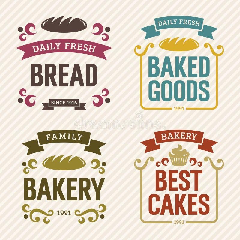 Rétros labels de boulangerie illustration de vecteur