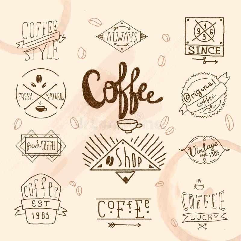 Rétros labels de café de vintage illustration de vecteur