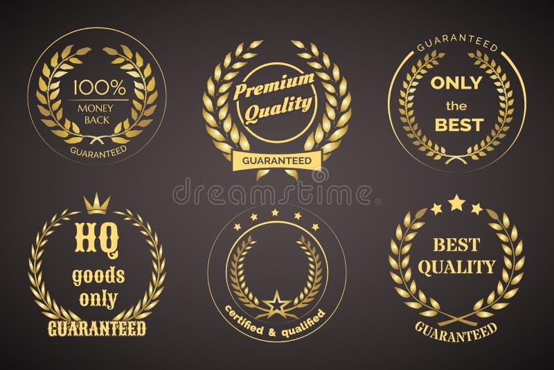 Rétros labels de garantie avec des guirlandes illustration de vecteur