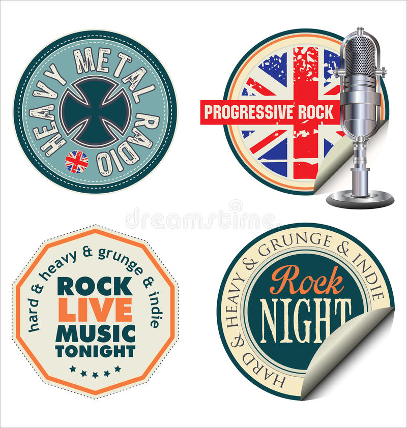 Rétros labels de musique rock illustration de vecteur