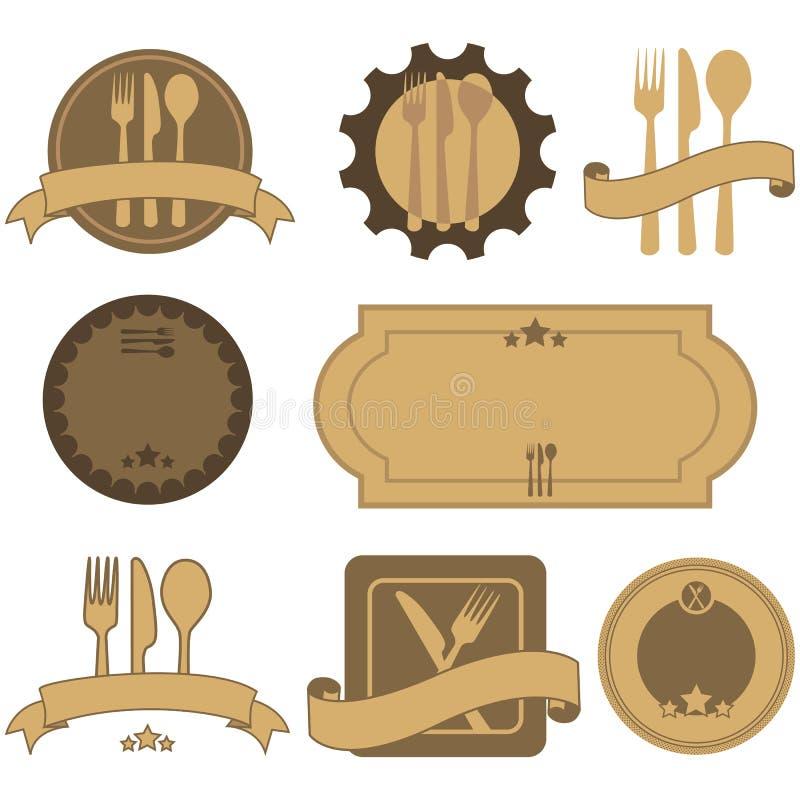 Rétros labels de restaurant illustration de vecteur