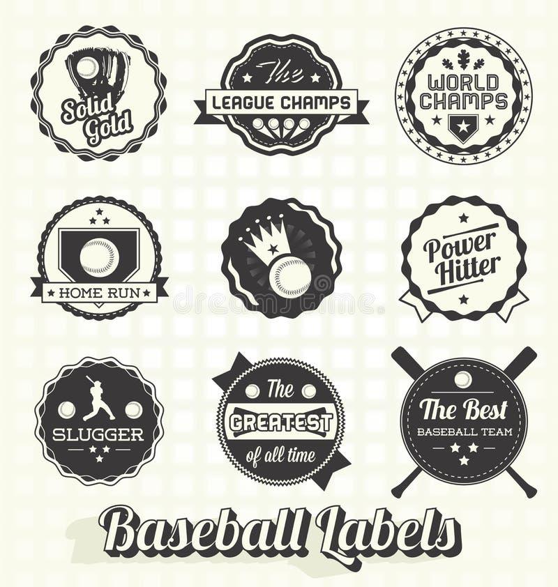 Rétros labels et icônes de base-ball illustration libre de droits