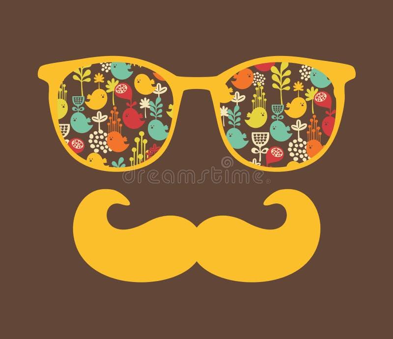 Rétros lunettes de soleil avec la réflexion pour le hippie. illustration de vecteur