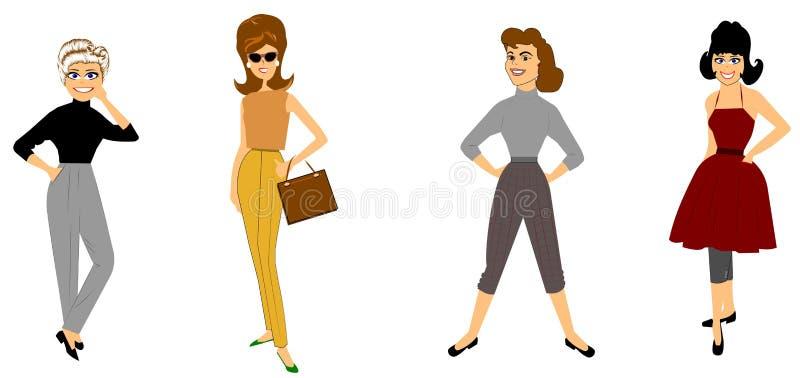 Rétros modes avec des dames dans les mous illustration de vecteur