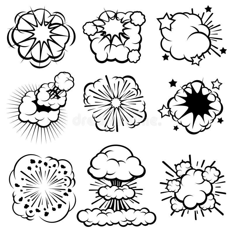 Rétros nuages d'explosion de bande dessinée Ensemble comique de vecteur d'anneaux de fumée illustration libre de droits