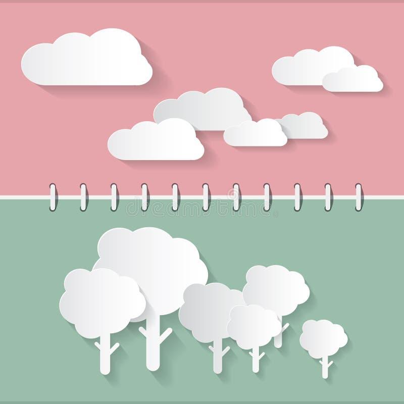 Rétros nuages de papier et arbres illustration stock