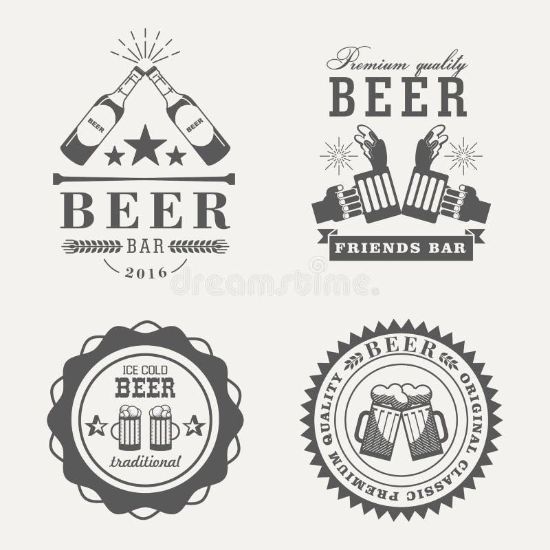Rétros ou vieux insignes ou signes de bière illustration stock