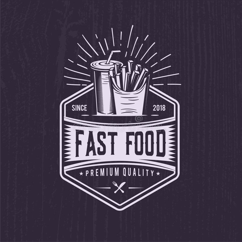 Rétros pommes frites Illustration d'aliments de préparation rapide de vintage conception de logo de soude illustration libre de droits