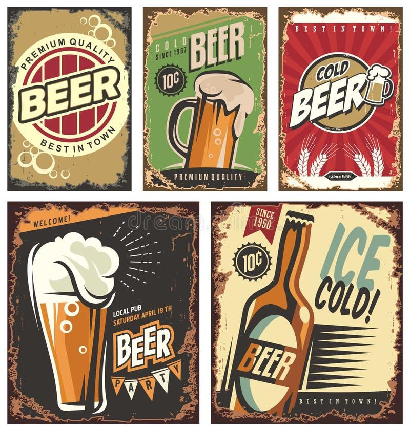 Rétros signes de bidon de bière réglés illustration stock