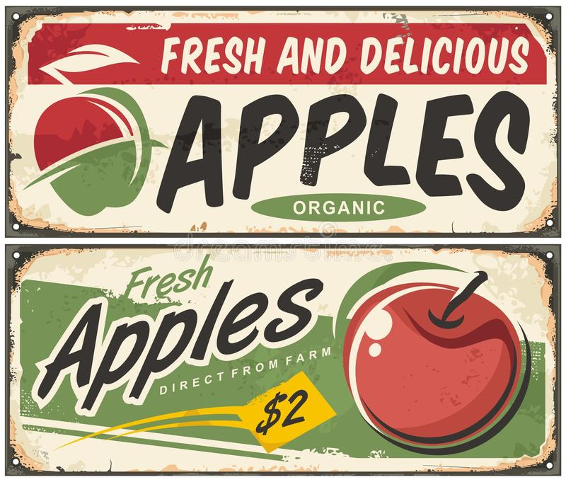 Rétros signes de pommes illustration stock