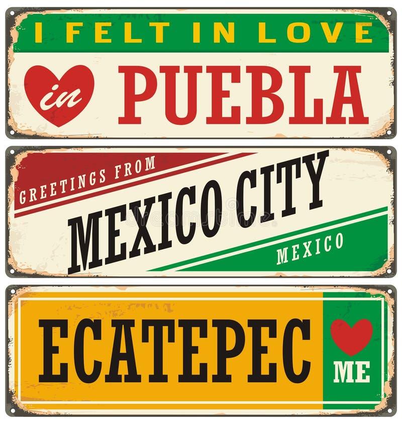 Rétros signes réglés avec des villes au Mexique illustration de vecteur