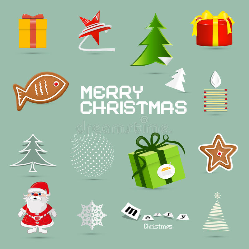 Rétros symboles de Noël de vecteur illustration de vecteur