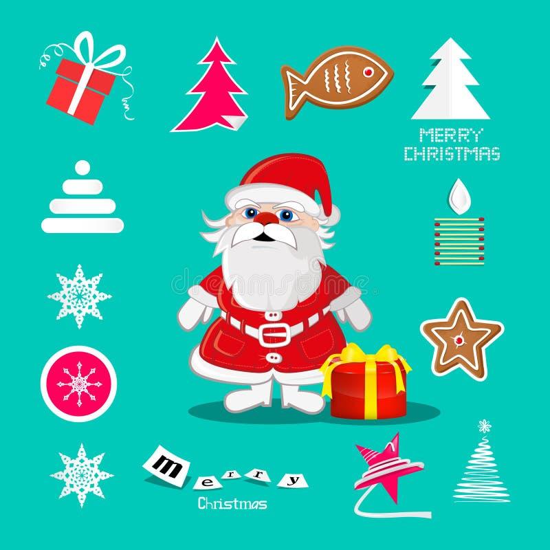 Rétros symboles de Noël de vecteur illustration stock