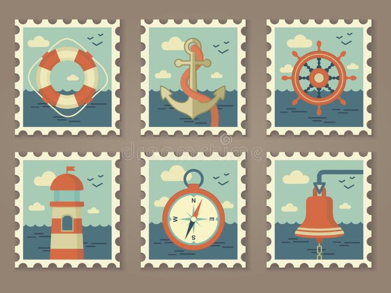 Rétros timbres de marine illustration stock