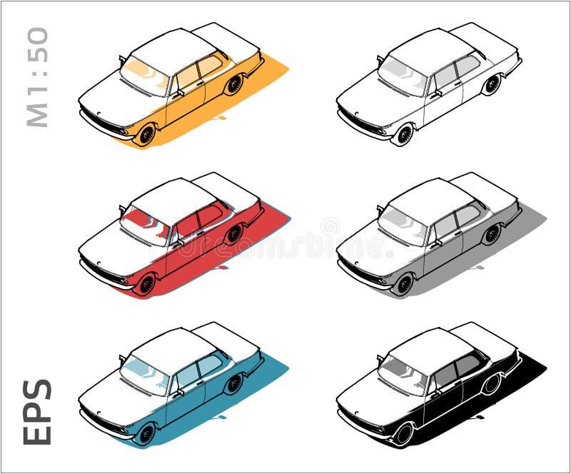 Rétros vieilles icônes de vecteur de voiture réglées pour le dessin et l'illustration architecturaux illustration de vecteur