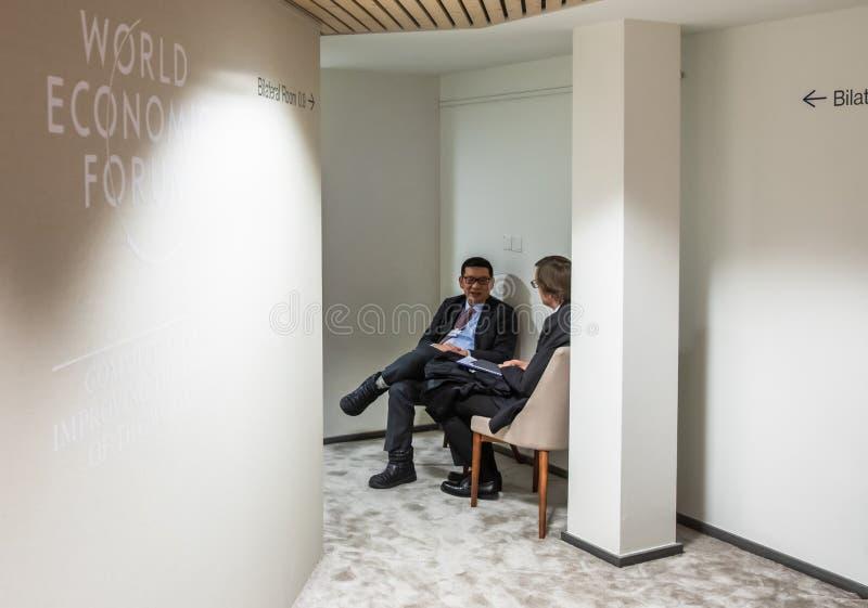 Réunion annuelle de forum économique mondial dans Davos, Suisse images libres de droits