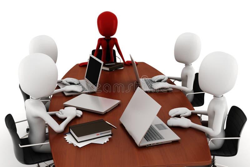 réunion d'affaires de l'homme 3d - sur le blanc illustration libre de droits