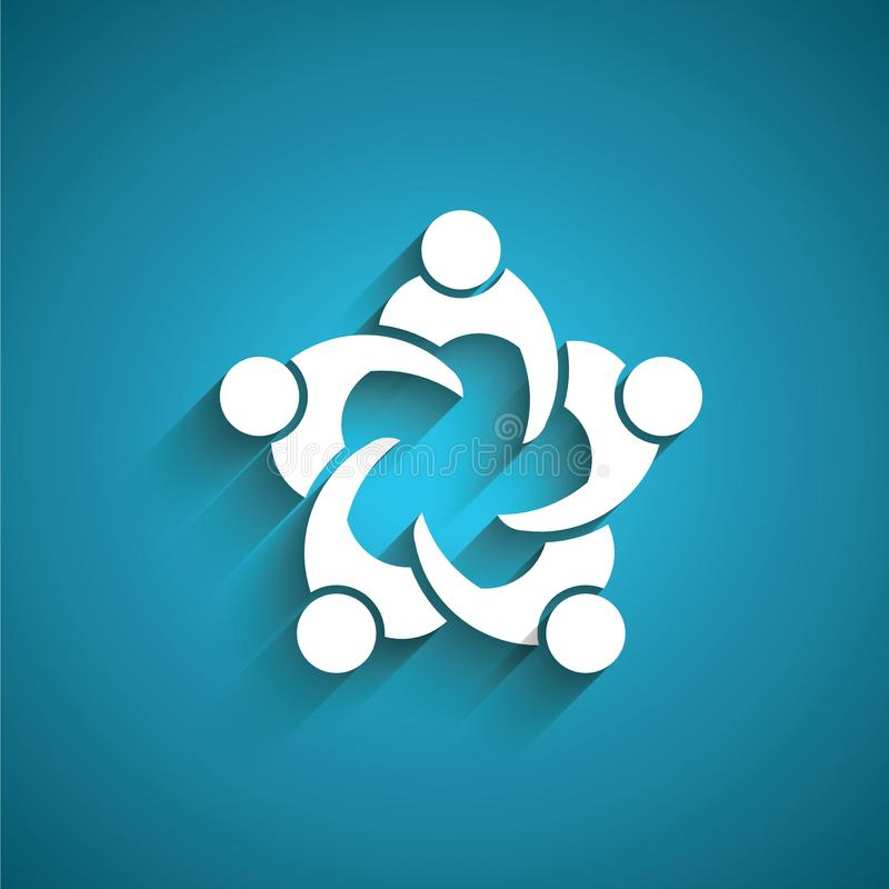 Réunion d'affaires de personnes de travail d'équipe en cercle Vecteur de logo illustration libre de droits