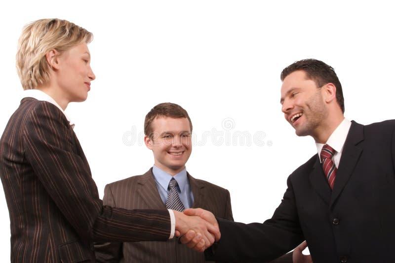 Réunion d'affaires - prise de contact d'homme et de femme photo stock