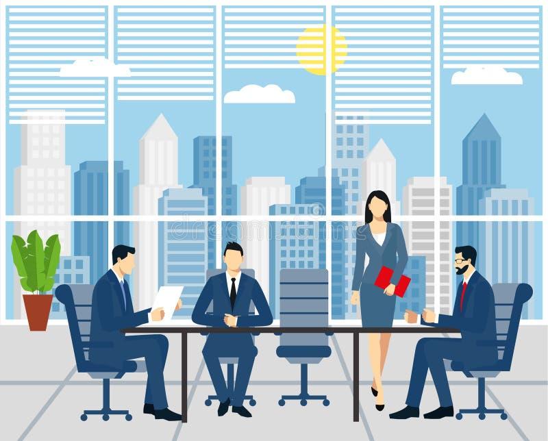 Réunion d'affaires, signant un contrat les hommes d'affaires dans des costumes s'asseyent à une table dans le bureau Réunion d'af illustration de vecteur
