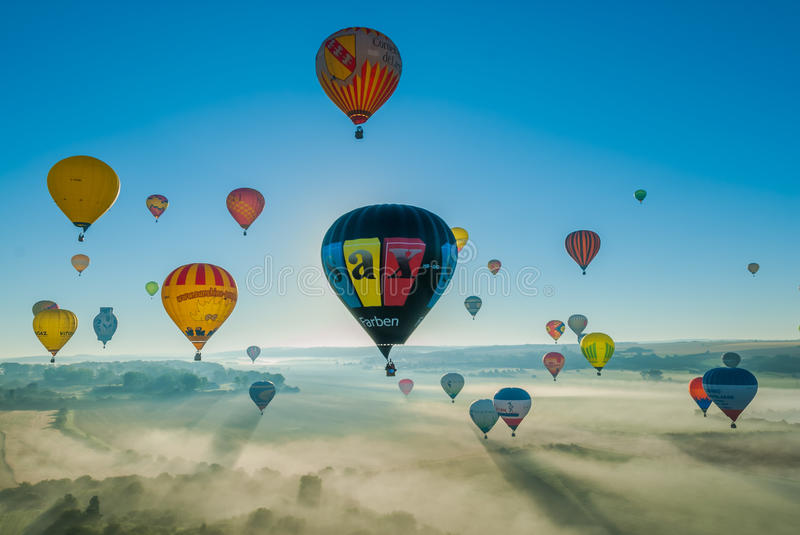 Réunion de ballon d'air chaud de Mondial en Lorraine France photos stock
