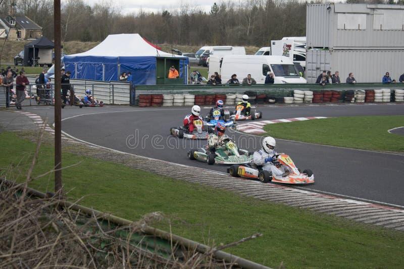 Réunion de course du club SYKC de kart de South Yorkshire le 12 mars 2017 photo libre de droits