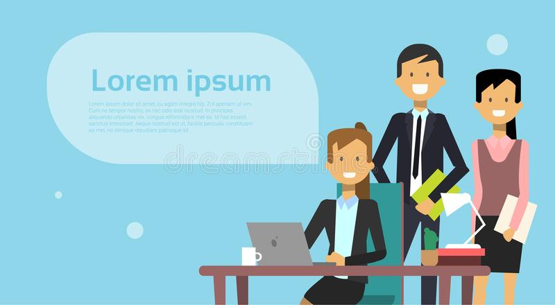 Réunion de Team Of Business People Brainstorming avec l'ordinateur de Working On Laptop d'homme d'affaires au-dessus du fond avec illustration stock