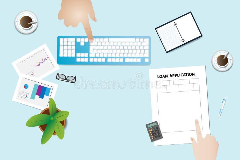 Réunion du banquier et du demandeur pour le prêt illustration libre de droits