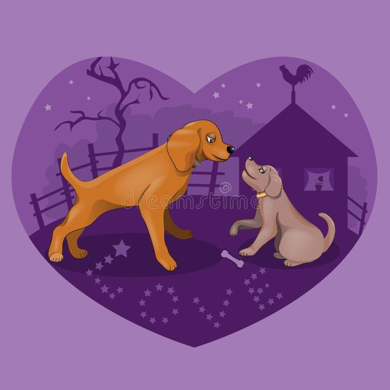 Réunion secrète des chiens dans l'amour illustration de vecteur
