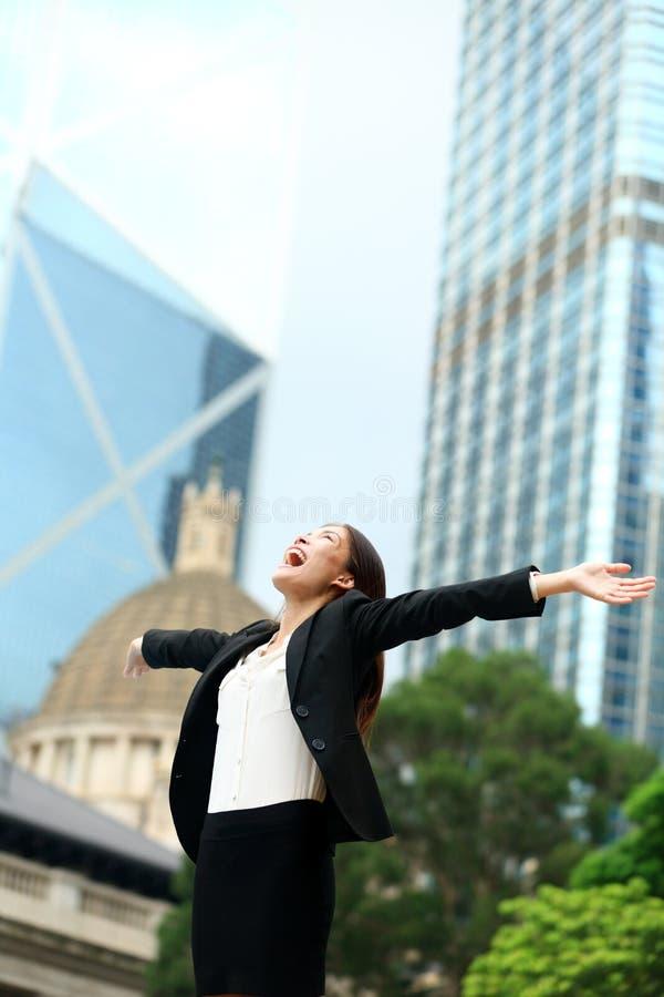 Réussite commerciale avec la femme réussie, Hong Kong photos stock
