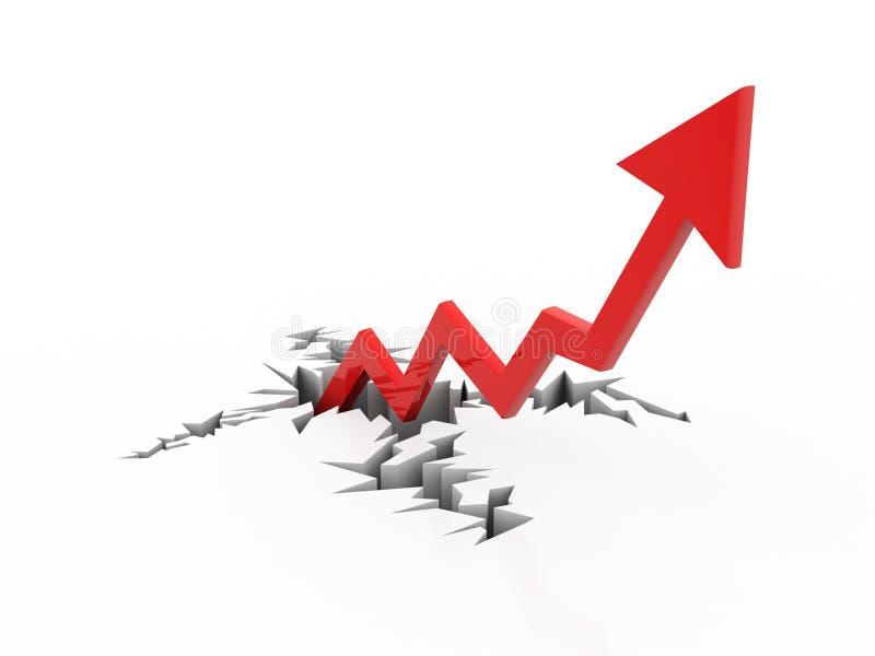 Réussite commerciale, flèche d'affaires sur le fond blanc 3d rendent illustration stock