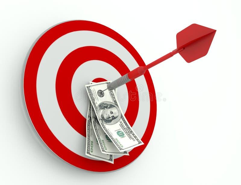Réussite dans les affaires, le dollar et le dard illustration libre de droits