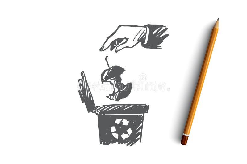 Réutilisant, déchets, déchets organiques, concept d'écologie Vecteur d'isolement tiré par la main illustration stock