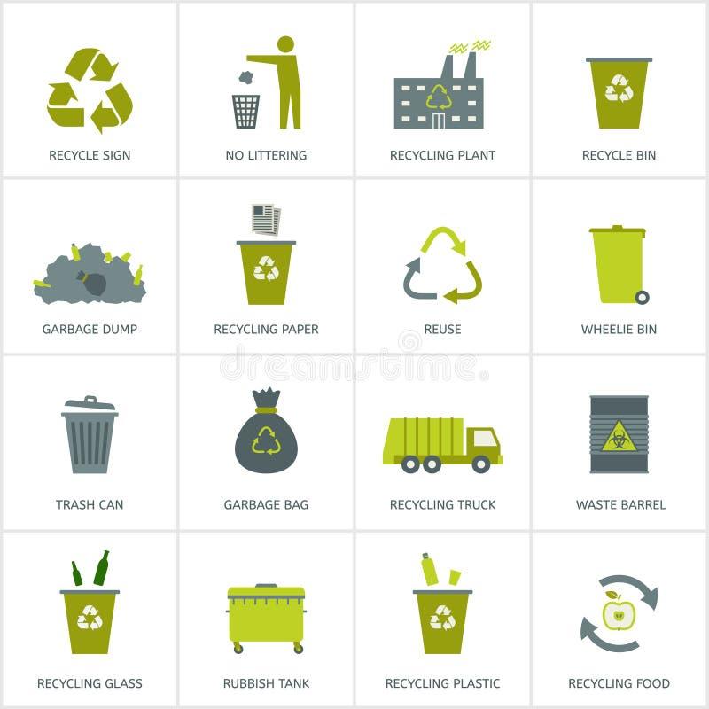 Réutilisant des icônes de déchets réglées illustration stock
