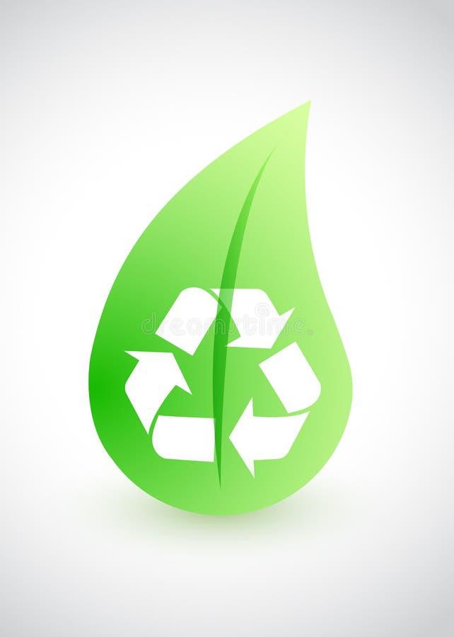 Réutilisation - conception environnementale avec la feuille illustration de vecteur