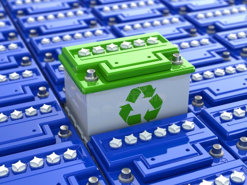 Réutilisation de batterie de voiture. Énergie verte. Fond d'accumulateur illustration de vecteur